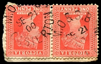 Lot 2785:Casterton: - WWW #510 unframed 'M.O & [S.B]/SE21/00/CASTERTON' on QV 1d red pair on piece. [Rated S]  Renamed from The Glenelg PO 1/1/1854; LPO 2/12/1998.