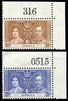 Lot 3301:1937 Coronation SG #96-7 1½d & 2½d sheet number singles.