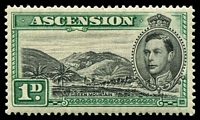 Lot 3222:1938-53 Pictorials SG #39 1d black & green P13½, lightly toned gum, Cat £45.