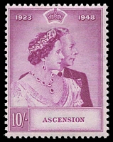 Lot 18876:1948 Silver Wedding SG #51 10/- bright purple, Cat £55.