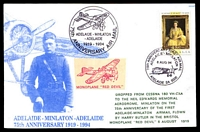 Lot 773 [2 of 2]:1994 Adelaide-Minlaton Anniversary special postcard signed by Pilot Geoff Constantine and passengers Chris Lloyd, Ian Hamilton & Arthur Bergen. Ovptd 'PRINTER'S SPOILS', bend at left, Unusual.