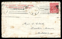 Lot 5390:1915 (Nov) use of 'METHODIST SOLDIERS' HOME,/BROADMEADOWS CAMP.' cover, 1d red KGV cancelled with Melbourne machine cancel, a bit spotty.
