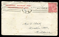 Lot 5389:1915 (Nov 23) use of 'METHODIST SOLDIERS' TENT,/BROADMEADOWS CAMP.' cover, 1d red KGV cancelled with Melbourne machine cancel, a bit spotty.