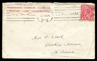 Lot 5391:1915 (Dec 3) use of 'METHODIST SOLDIERS' INSTITUTE,/MARIBYRNONG CAMP.' (69mm long) cover, 1d red KGV cancelled with Melbourne machine cancel.
