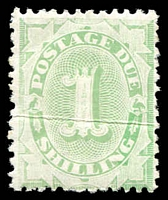 Lot 3861:1902-04 Design Completed Wmk Crown/NSW BW #D37 1/- emerald perf 11½-12, crease, Cat $125.