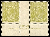 Lot 569:4d Olive - BW #117(3)z Plate 3 imprint pair (N over A), suntanned gum, MUH, Cat $325.