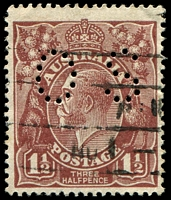 Lot 248:1½d Brown Die I - [11R26] White flaw above rightmost wattle in right wattles perf 'OS'.