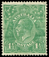 Lot 1264:1½d Green Die I - BW #88(11)ja [11R4] Retouched NW corner - State II, Cat $30.
