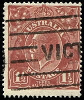 Lot 1221:1½d Red-Brown Die I BW #87(11)j [11R4] Retouched NW corner - State I, Cat $60.