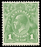 Lot 2912:1d Green - BW #81(1)i Die II, MVLH, Cat $60.