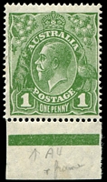 Lot 2252:1d Green 1d green marginal single with Kiss print affecting most of left frame.