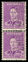 Lot 565:1941-44 2d Mauve KGVI BW #189bd Large and small coil perf pair, Cat $25.