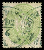 Lot 3526:1863 Lombardy & Venetia Perf 14 SG #Z2 3s green with 2 bluish part-strikes of 'IN DEN/9/[?]/[DARD]