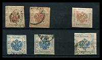 Lot 3111:1858 Imperial Journal: Mi #J30a,J31 1k blue type I x2, 4k brown x2, close or touching margins, plus reprint? of both values, Cat €59. (6)