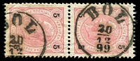 Lot 3515:Bol: 'BOL/20/12/99' on 5k rose pair. (Yugoslavia).