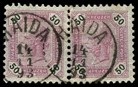 Lot 19046:Haida: 'HAIDA/14/11/93' on 50k mauve pair (SG #95). (Bohemia).