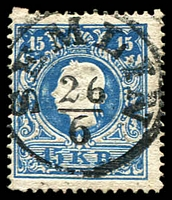 Lot 3322:Semlin: 'SEMLIN/26/6' on 1858 15k blue. (Yugoslavia).