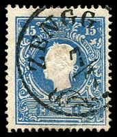 Lot 3323:Zengg: 'ZENGG/7/7' on 1858 15k blue. (Yugoslavia).