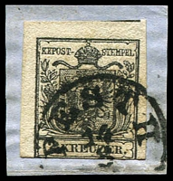 Lot 3492:1850 Arms Hand-Made Paper SG #2 2k black Type I 3 margins on piece, Cat £140, cancelled with Pest II.