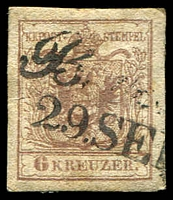 Lot 3493:1850 Arms Hand-Made Paper SG #4c 6k brown Type III 4 margins.