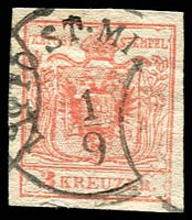 Lot 3308:1854 Arms Machine Paper SG #8 3k red type III 4 margins.