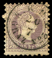 Lot 3498:1874-80 Franz Josef Fine Type SG #65a 25k lilac, Cat £225.