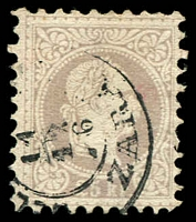 Lot 3497:1874-80 Franz Josef Fine Type SG #65 25k brownish grey, Cat £275, cancelled with double-circle '[?]/11/12/76/ZARA