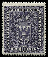 Lot 3110:1916-19 Arms SG #265a 10k violet, MVLH, Cat £140.