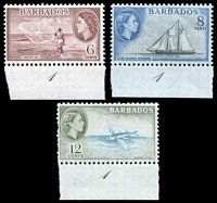 Lot 3141:1953-61 QEII Pictorials SG #294-6b 6c, 8c & 12c turquoise-blue & bronze-green (perf faults at left), all plate '1' singles, Cat £20+ as normals.