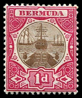 Lot 3263:1902-03 Dry Dock Wmk Crown/CA SG #32 1d brown and carmine, small crease.