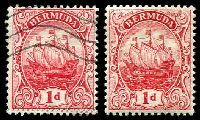 Lot 3264:1910-25 Ship Wmk Crown/CA SG #46 1d red, Cat £20. Plus different shade used.