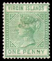 Lot 17176:1879-80 QV Wmk Crown/CC SG #24 1d emerald-green, Cat £75.