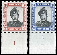 Lot 18205:1964-72 Sultan Omar Ali Salfuddin SG #120a,128b 3c & 50c both glazed paper, both plate '1' singles, Cat £21 as normal.