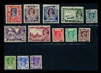Lot 3303:1938-40 KGVI SG #19-26,28-32 3p to 5r, excl 3a6p, Cat £130.