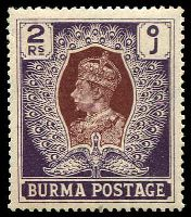 Lot 3305:1938-40 KGVI SG #31 2r brown & purple, Cat £26.