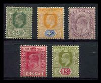 Lot 3454:1904-05 KEVII Wmk Mult Crown/CA SG #278-82 3c to 12c, Cat £14. (5)