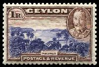 Lot 3328:1935-36 Pictorials SG #378 1r violet-blue & chocolate, Cat £40.