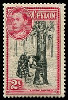 Lot 3330:1938-49 KGVI Pictorials SG #386a 2c black & carmine, P13½x13, small thinned perf, Cat £120.