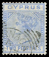 Lot 3483:1881 QV Wmk Crown/CC SG #13 2pi blue (pale), Cat £35.