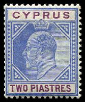 Lot 3363:1904-10 KEVII Wmk Mult Crown/CA SG #65 2pi blue & purple, Cat £18.