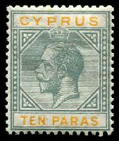 Lot 3650:1921-23 KGV Wmk Mult Script CA SG #86 10pa grey & yellow, Cat £15.