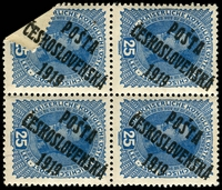 Lot 3657:1919 Overprints on Austria SG #75 25h blue block of 4 with corner of bottom left unit folded over and overprint applied over the fold, bottom units MUH. Appealing flaw.