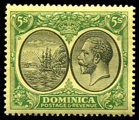 Lot 3677:1923-33 KGV Defins Wmk Mult Script CA SG #88 5/- black & green/yellow, MVLH, Cat £40.