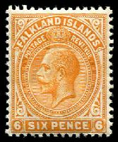 Lot 21761:1912-20 KGV Wmk Mult Crown CA SG #64 6d yellow-orange, Cat £15.