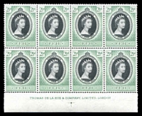 Lot 3461:1953 QEII Coronation SG #278 2½d black & green corner imprint block of 8, Cat £16.