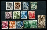 Lot 3628 [2 of 2]:1947 Pictorials: Mi #1-13 set to 1m excl 84pf, Cat €11. Plus mint set. (25)