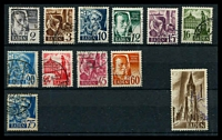 Lot 3628 [1 of 2]:1947 Pictorials: Mi #1-13 set to 1m excl 84pf, Cat €11. Plus mint set. (25)