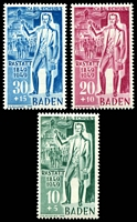Lot 3532:1949 Carl Schurz: Mi #50-2 set of 3, all type I, Cat €20 as hinged.