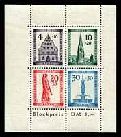 Lot 3630:1949 Freiburg Rebuilding Fund: Mi #Block 1A perfed MS, MUH, Cat €75.