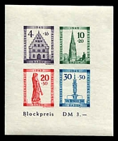 Lot 22675:1949 Freiburg Rebuilding Fund: Mi #Block 1B imperf MS, MUH, Cat €75.